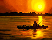 Night Game Paintings - Kayak Fishing by Alex Rios