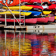 Stored Photo Posters - Kayak Reflections Poster by Art Block Collections