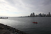 Gas Lamp Photos - Kayaking Along The San Diego Harbor Overlooking The San Diego Skyline 5D24377 by Wingsdomain Art and Photography