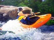 Whitewater Prints - Kayaking Fun Print by Cireena Katto