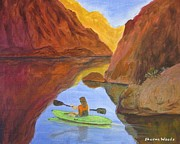 Waterscape Painting Posters - Kayaking Lake Powell Poster by Sharon Woods