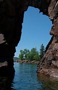 Kayaking Through The Arch Print by Sandra Updyke