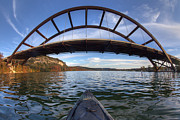Pennybacker Bridge Photos - Kayaking under Pennybacker Bridge - Austin Texas by Rob Greebon