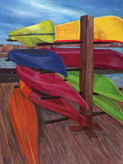 Edward Williams Art - Kayaks at Tide Point by Edward Williams