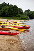 Amesbury Photos - Kayaks On A Beach by K Hines