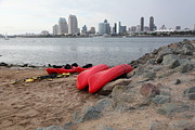 Gas Lamp Prints - Kayaks On Coronado Island Overlooking The San Diego Skyline 5D24368 Print by Wingsdomain Art and Photography