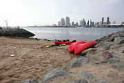 Gas Lamp Prints - Kayaks On Coronado Island Overlooking The San Diego Skyline 5D24369 Print by Wingsdomain Art and Photography