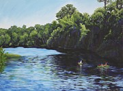 Kayaking Art Paintings - Kayaks on Rainbow River by Penny Birch-Williams