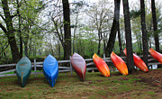 Kayaks Waiting Print by Michael Mooney