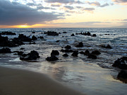 Rocky Beach Prints - Keawakapu Kahaulani Maui Sunset Print by Karon Melillo DeVega