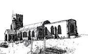 Picturesque Drawings Posters - Kedington Church Poster by Shirley Miller