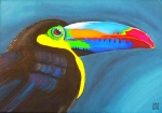 Yellow Beak Painting Metal Prints - Keel Billed Toucan  Metal Print by Una  Miller