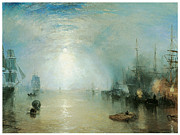 Sailing Vessels Framed Prints - Keelmen Heaving in Coals by Moonlight Framed Print by J M W Turner