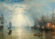 Boats In Water Painting Posters - Keelmen Heaving in Coals by Moonlight Poster by Joseph Mallord William Turner
