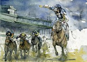 Horses Mixed Media Prints - Keeneland  Print by Michael  Pattison