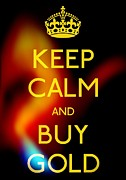 Gold Earrings Framed Prints - Keep Calm And Buy Gold Framed Print by Daryl Macintyre
