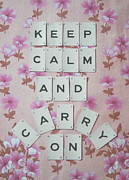 Scrabble Framed Prints - Keep Calm and Carry On Framed Print by Georgia Fowler