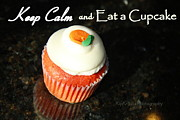 Frosting Digital Art Posters - Keep Calm and Eat a Cupcake Poster by Kip Krause
