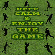 Baseball Player Mixed Media Framed Prints - Keep Calm and Enjoy the Game Framed Print by Saurabh and Geetanjali Nande