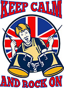 Rocker Prints - Keep Calm Rock On British Flag Queen Granny Drums Print by Aloysius Patrimonio