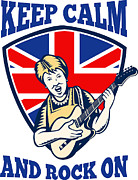 Rocker Prints - Keep Calm Rock On British Flag Queen Granny Guitar Print by Aloysius Patrimonio