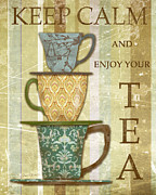 Parchment Framed Prints - Keep Calm - Tea Framed Print by Jean Plout