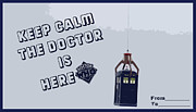 Tardis Mixed Media Framed Prints - Keep Calm The Doctor Is Here Framed Print by Nino Mchedlidze