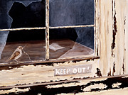 Wooden Building Painting Posters - Keep Out Poster by Dorothea Hyde