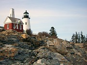 Pemaquid Lighthouse Framed Prints - Keepers House Framed Print by Tiffany Fuqua