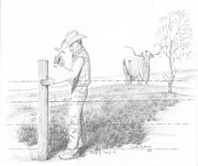 Ranching Drawings - Keeping Daryl In by Cristi Boliver