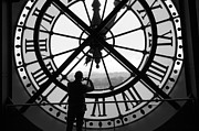 Black And White Paris Mixed Media Posters - Keeping Time Poster by Adrian Alford