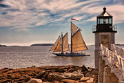 New England Village Prints - Keeping Vessels Safe Print by Karol  Livote