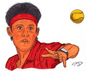 Steven White Drawings - Kei Nishikori by Steven White