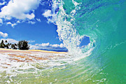 Seascape Digital Art Metal Prints - Keiki Beach Wave Metal Print by Paul Topp