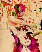 Mixed Medium Prints - Keith Richards - The Rolling Stones  Print by Ryan Rabbass
