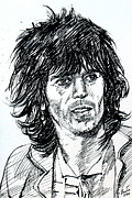 Rolling Stones Posters - KEITH RICHARDS black ink portrait Poster by Fabrizio Cassetta