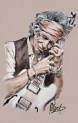 Musicians Pastels Prints - Keith Richards Print by Melanie D