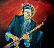 Mick Jagger Art - Keith Richards by Merv Scoble