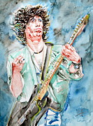 Keith Richards Painting Framed Prints - KEITH RICHARDS PLAYING the GUITAR watercolor portrait Framed Print by Fabrizio Cassetta