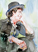 Rolling Stones Posters - KEITH RICHARDS SITTING with CIGARETTE and SMILING watercolor portrait Poster by Fabrizio Cassetta