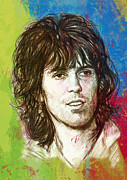 Rock Band Mixed Media Prints - Keith Richards stylised pop art drawing potrait poster Print by Kim Wang