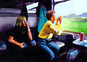 Daughter Paintings - Kelly and PJ in the Austrian Alps by Douglas Simonson