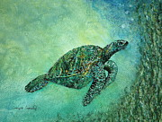 Kelp Paintings - Kelp Forest Sea Turtle by Tamyra Crossley
