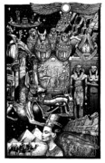 Horus Drawings Metal Prints - Kemitology Metal Print by Matthew Ridgway