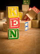 Wood Blocks Posters - KEN - Alphabet Blocks Poster by Edward Fielding