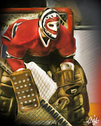 Goaltender Digital Art Framed Prints - Ken Dryden Framed Print by Mike Oulton