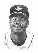Mlb Baseball Drawings - Ken Griffey Jr by Harry West