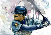 Watercolor Art - Ken Griffey Jr. by Michael  Pattison