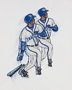 Baseball Art Drawings Framed Prints - Ken Griffey Jr. Framed Print by Suzanne Macdonald