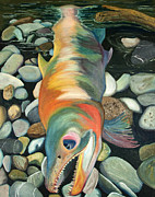 Salmon Painting Posters - Kenai Ded Red 1 Poster by Amy Reisland-Speer